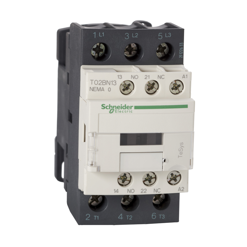 Mayer-NEMA Contactor, TeSys N, nonreversing, Size 1, 27A, 10HP at 460VAC, 3 pole, 3 phase, 24VAC 50/60Hz coil, open-1