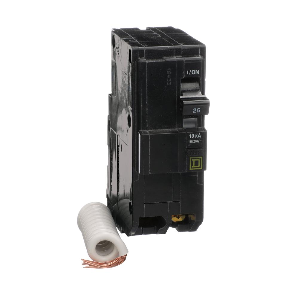 Mayer-Mini circuit breaker, QO, 25A, 2 pole, 120/240 VAC, 10 kA, 30mA grd fault B, plug in mount-1