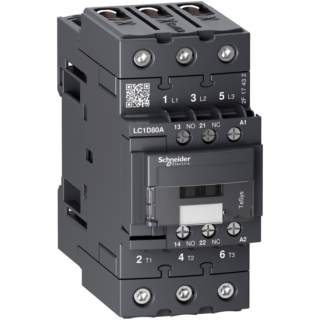 Mayer-IEC contactor, TeSys D, nonreversing, 80A, 60HP at 480VAC, 3 phase, 3 pole, 3 NO, 120VAC 50/60Hz coil, open style-1