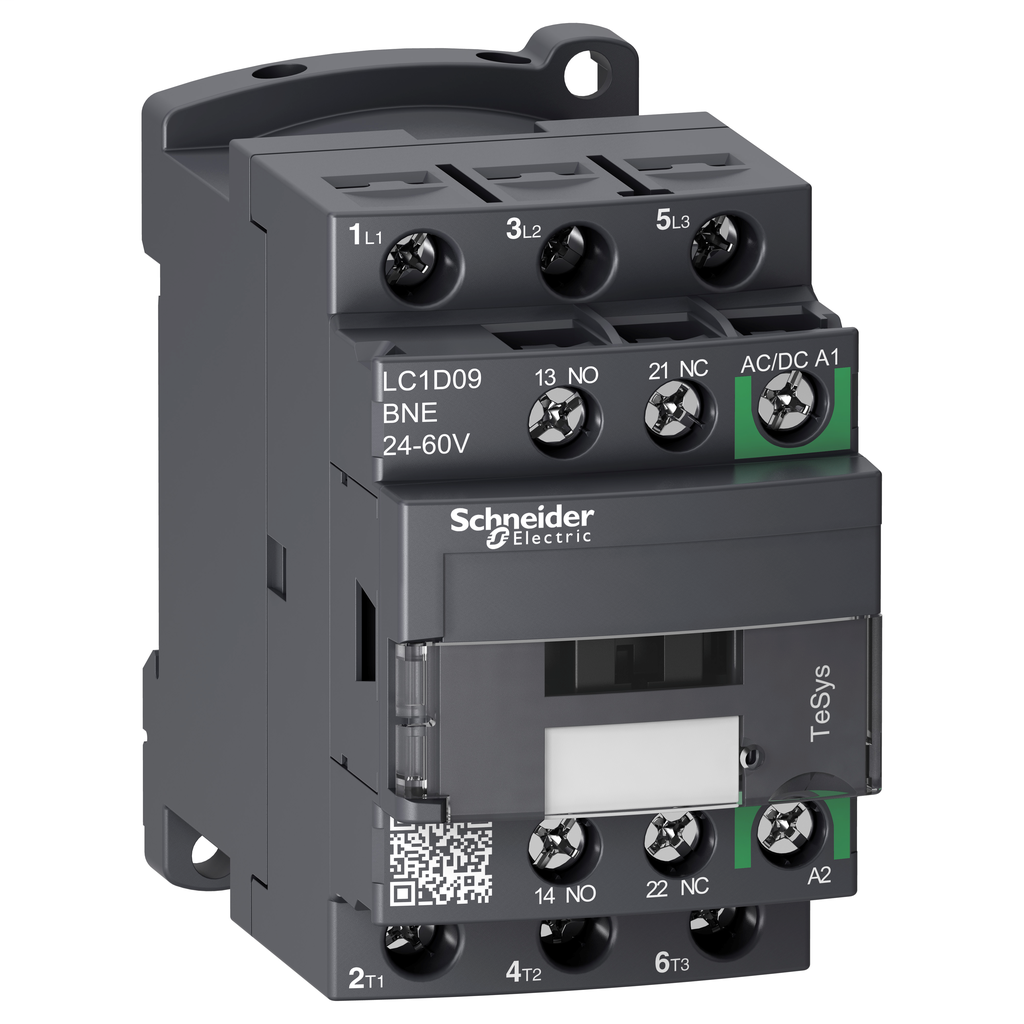 Mayer-IEC contactor, TeSys D Green, nonreversing, 9A, 5HP at 480VAC, up to 100kA SCCR, 3 phase, 3 NO, 24/60 VAC/VDC coil, open-1