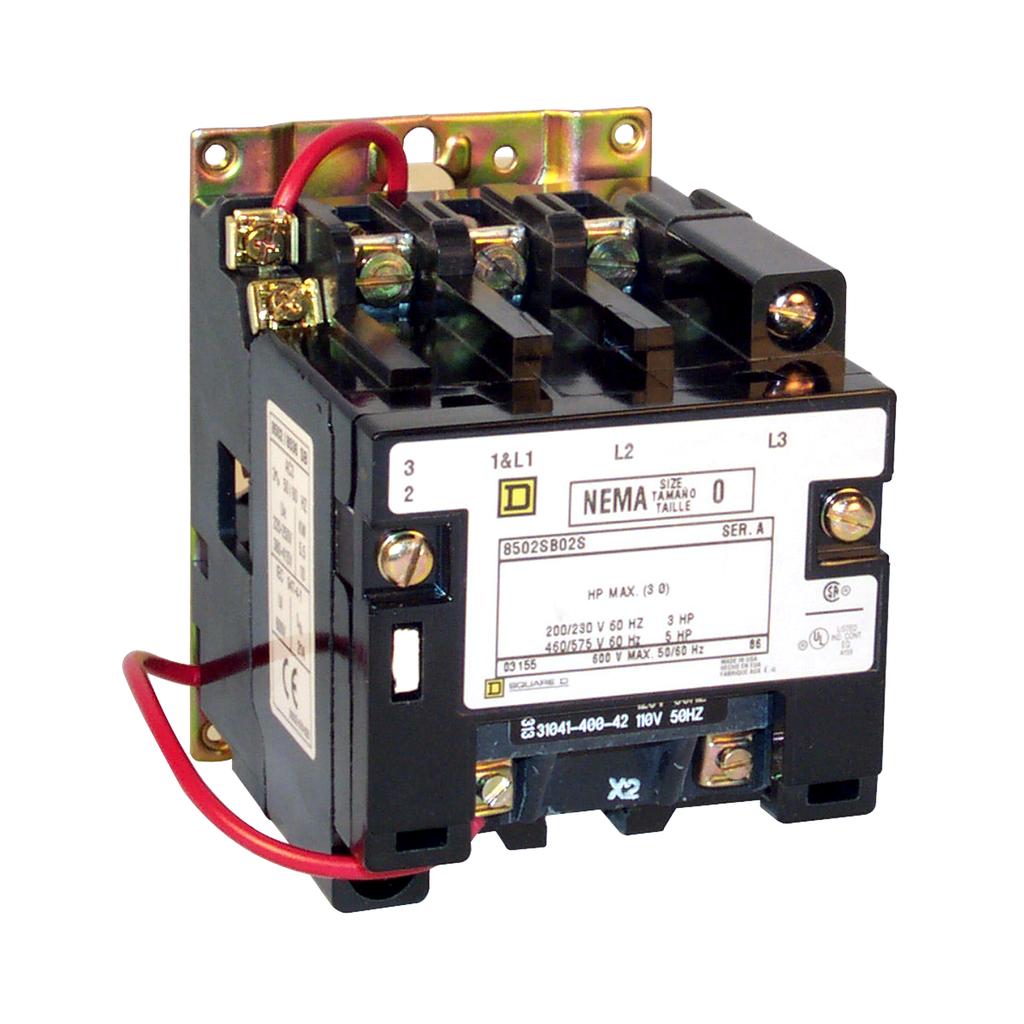 Mayer-NEMA Contactor, Type S, nonreversing, Size 0, 18A, 2 HP at 230 VAC, 1 phase, up to 100 kA, 1 pole, 120 VAC coil, open-1