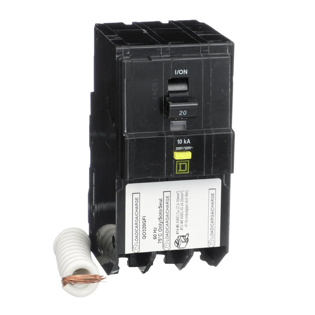 Mayer-Mini circuit breaker, QO, 20A, 3 pole, 208Y/120 VAC, 10 kA, 6mA grd fault A, pigtail, plug in mount-1