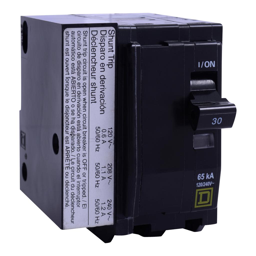 Mayer-Mini circuit breaker, QO, 30A, 2 pole, 120/240 VAC, 10 kA, plug in mount, AC shunt trip-1
