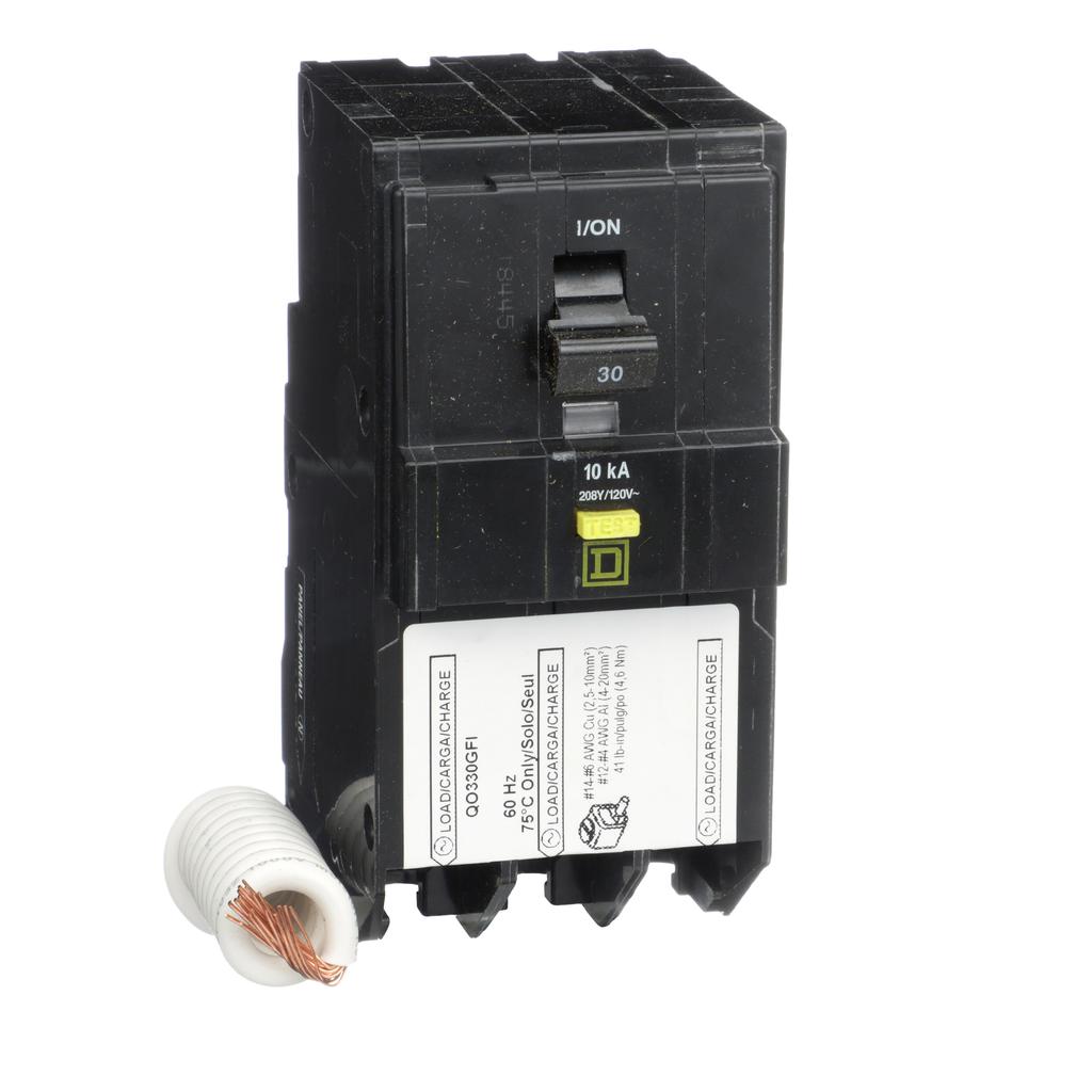 Mayer-Mini circuit breaker, QO, 30A, 3 pole, 208Y/120 VAC, 10 kA, 6mA grd fault A, pigtail, plug in mount-1