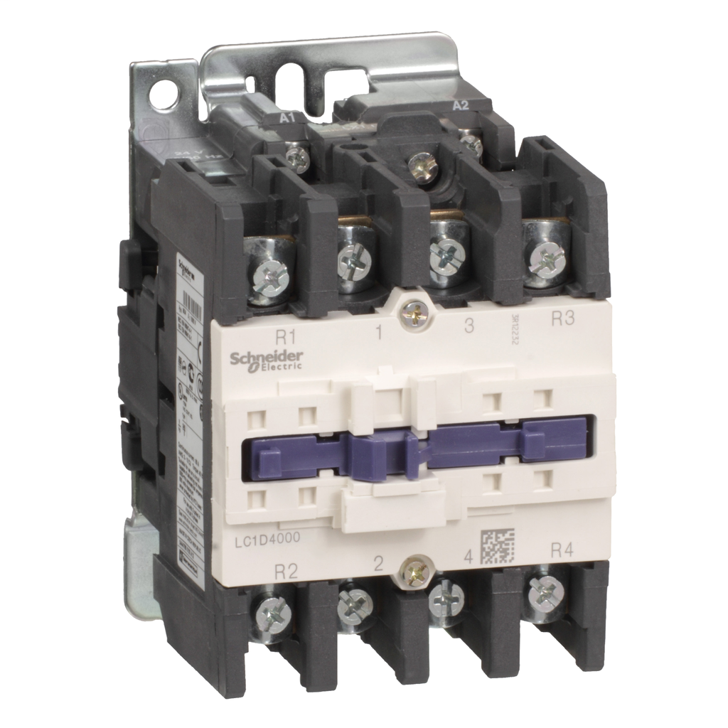 Mayer-IEC contactor, TeSys D, nonreversing, 60A resistive, 4 pole, 2 NO and 2 NC, 120VAC 60Hz coil, open style-1