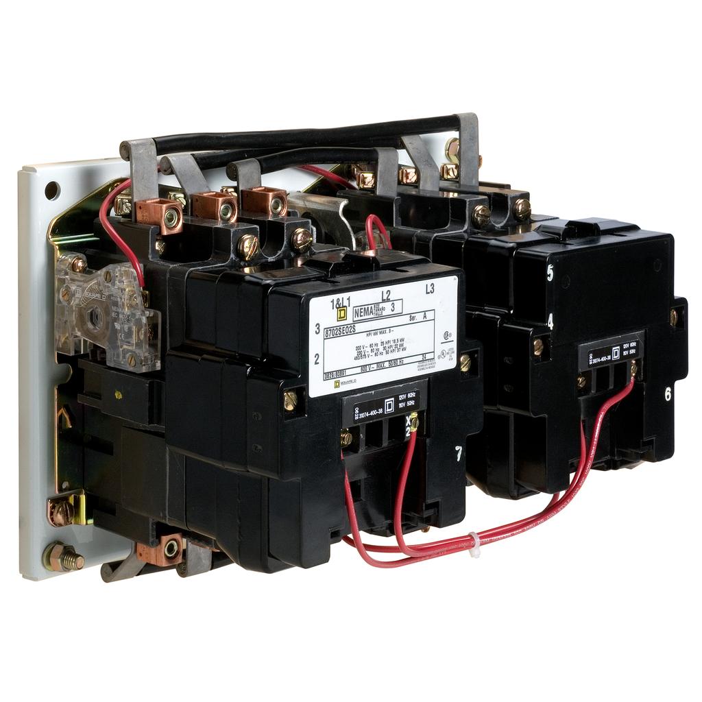 Mayer-NEMA Contactor, Type S, reversing, Size 5, 270A, 3 pole, 3 phase, horizontal, 440/480 VAC 50/60 Hz coil, open style-1