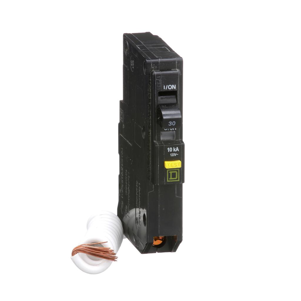 Mayer-Mini circuit breaker, QO, 30A, 1 pole, 120 VAC, 10 kA, 6mA grd fault A, pigtail, plug in mount-1