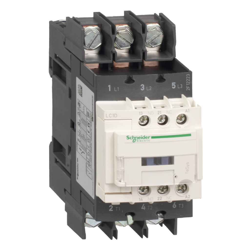 Mayer-IEC contactor, TeSys D, nonreversing, 40A, 30HP at 480VAC, 3 phase, 3 pole, 3 NO, 125VDC coil, open style-1