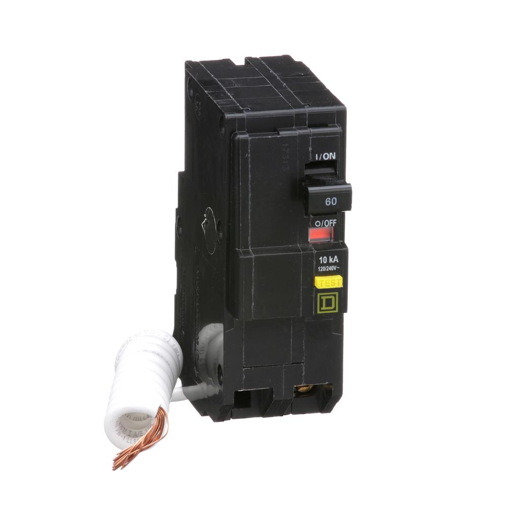 Mayer-Mini circuit breaker, QO, 60A, 2 pole, 120/240 VAC, 10 kA, 6mA grd fault A, pigtail, plug in mount-1