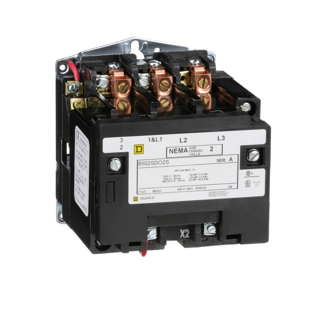 Mayer-NEMA Contactor, Type S, nonreversing, Size 2, 45A, 25 HP at 575 VAC, 3 phase, up to 100 kA, 3 pole, 24 VAC coil, open-1