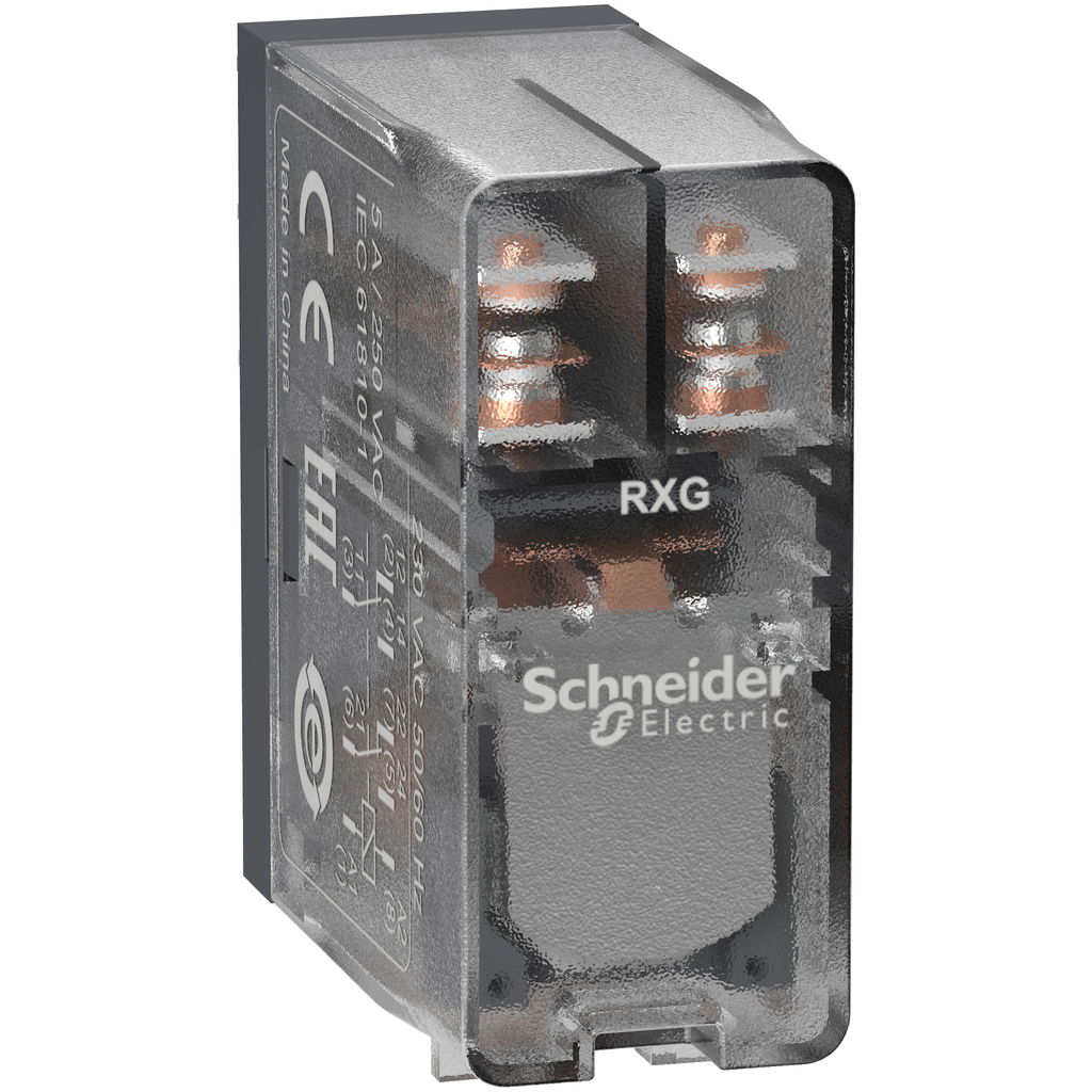 Mayer-Harmony, Interface plug-in relay, 5 A, 2 CO, clear cover, 120 V AC-1
