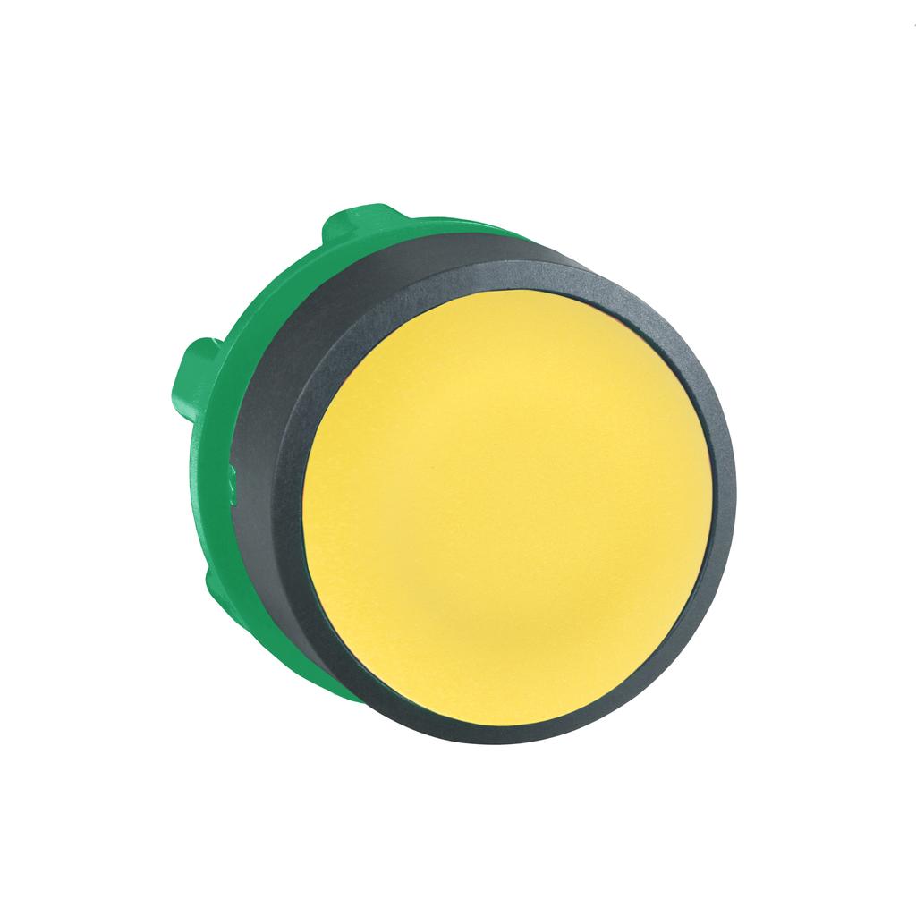 Mayer-Harmony XB5, Push button head, plastic, flush, yellow, Ø22, spring return, unmarked-1