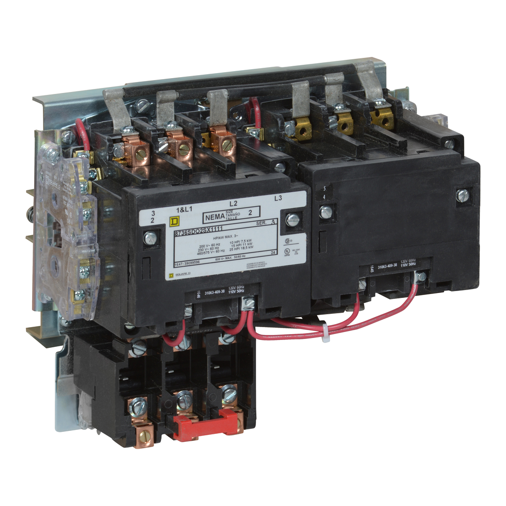 Mayer-NEMA Starter, Type S, reversing, horizontal, Size 2, 45A, 25 HP at 575 VAC, 5 kA SSCR, 3 phase, 3 pole, melting alloy overload, 240 VAC coil, open-1
