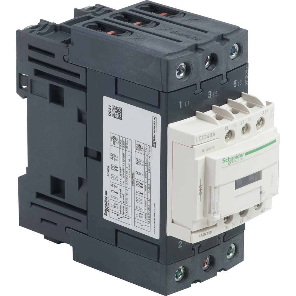 Mayer-IEC contactor, TeSys D, nonreversing, 40A, 30HP at 480VAC, up to 100kA SCCR, 3 phase, 3 NO, 24VDC coil, open style-1