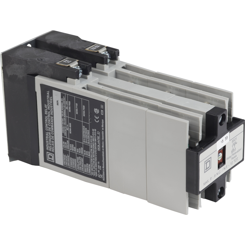 Mayer-NEMA Control Relay, Type X, machine tool, 10A resistive at 600 VAC, 12 normally open contacts, 110/120 VAC 50/60 Hz coil-1