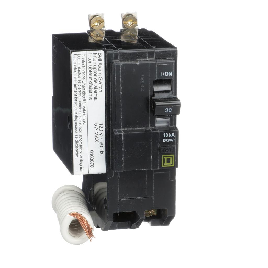 Mayer-Mini circuit breaker, QO, 30A, 2 pole, 120/240 VAC, 10 kA, 30mA grd fault B, bolt on mount, alarm switch-1