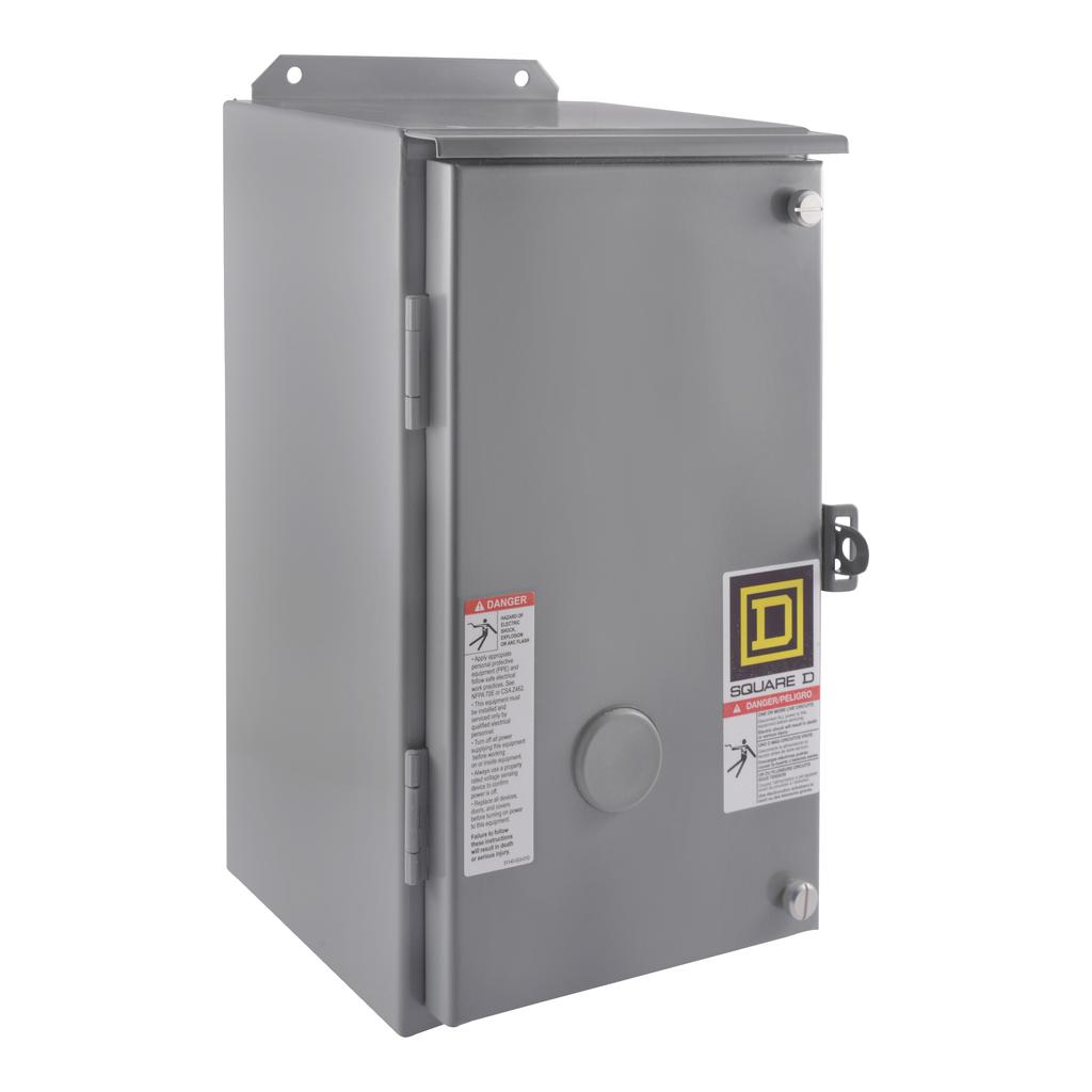 Mayer-NEMA Contactor, Type S, nonreversing, Size 2, 45A, 25 HP at 575 VAC, 3 phase, up to 100 kA, 3 pole, 120VAC coil, NEMA 12-1