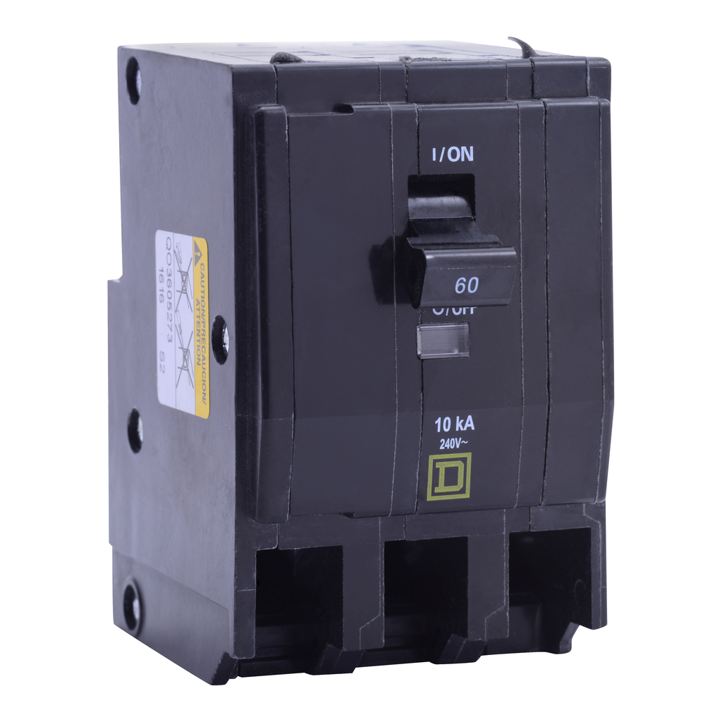 Mayer-Mini circuit breaker, QO, 60A, 3 pole, 120/240 VAC, 10 kA, plug in mount, ring terminals-1