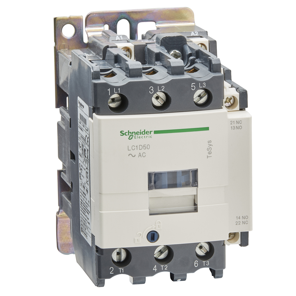 Mayer-IEC contactor, TeSys D, nonreversing, 50A, 40HP at 480VAC, up to 100kA SCCR, 3 phase, 3 NO, 230VAC 50/60Hz coil, open-1