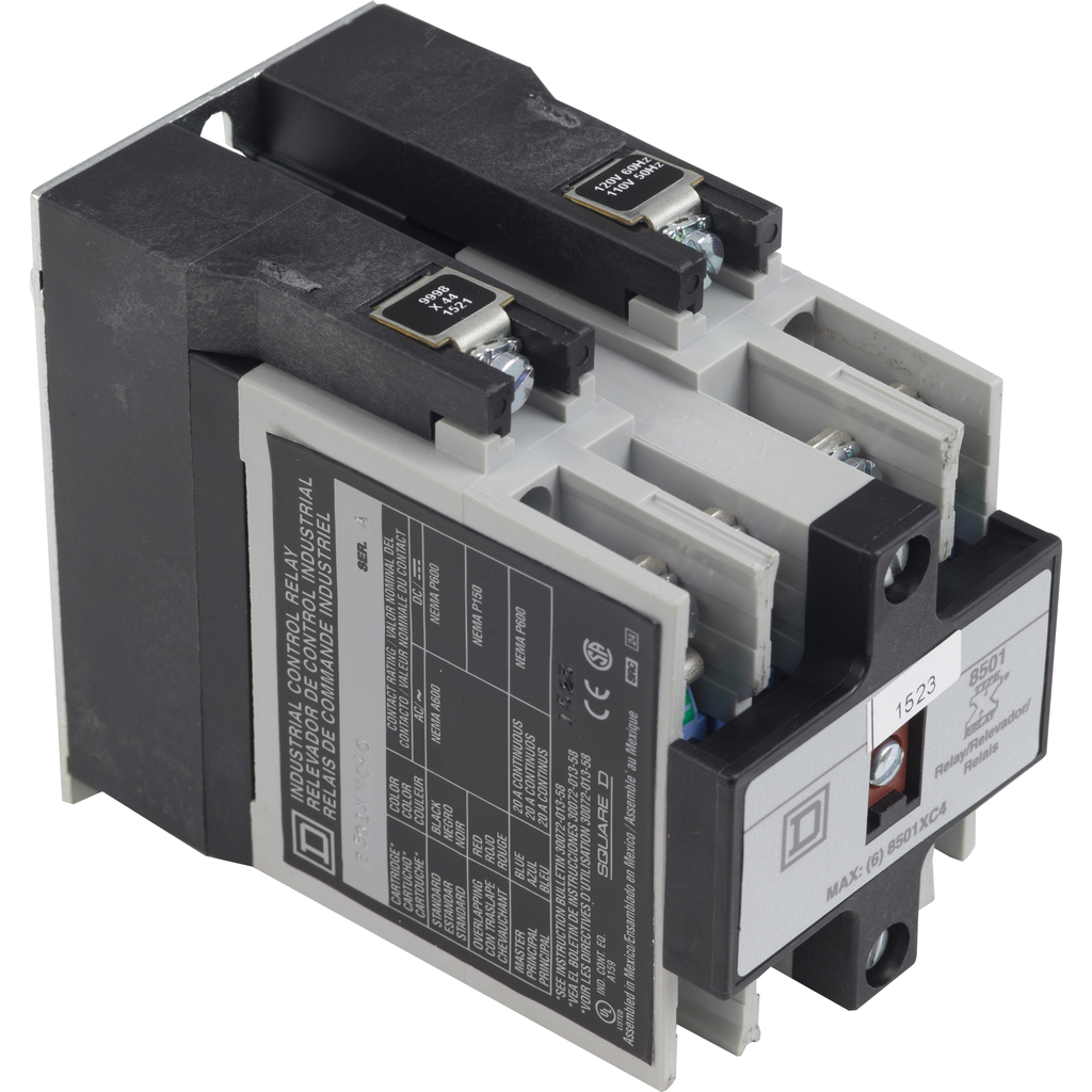 Mayer-NEMA Control Relay, Type X, master, 10A resistive at 600 VAC, 2 normally open contacts, 110/120 VAC 50/60 Hz coil-1