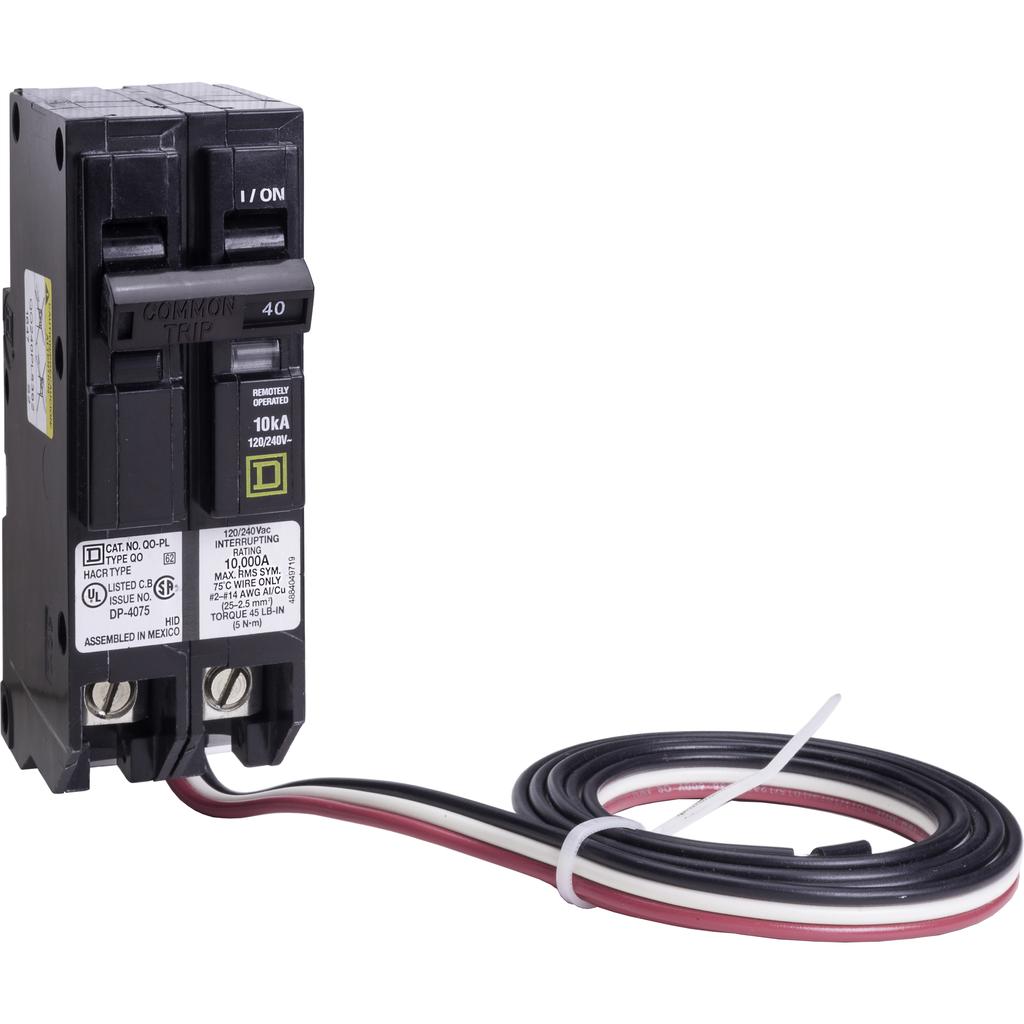 Mayer-Mini circuit breaker, QO, 40A, 2 pole, 120/240 VAC, 10 kA, Powerlink, plug in mount, 48 in leads-1