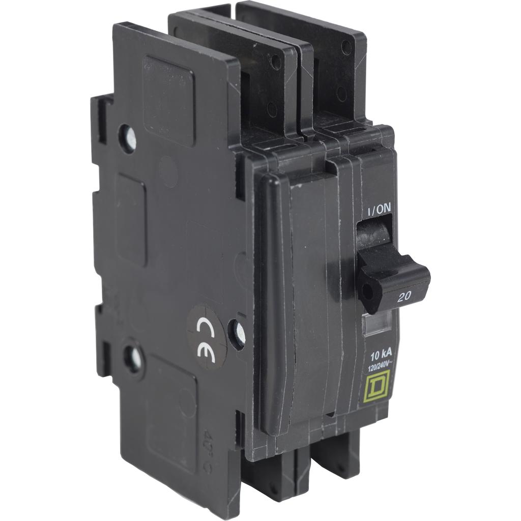 Mayer-Mini circuit breaker, QOU, 25A, 2 pole, 120/240 VAC, 10kA, field reversible lugs-1