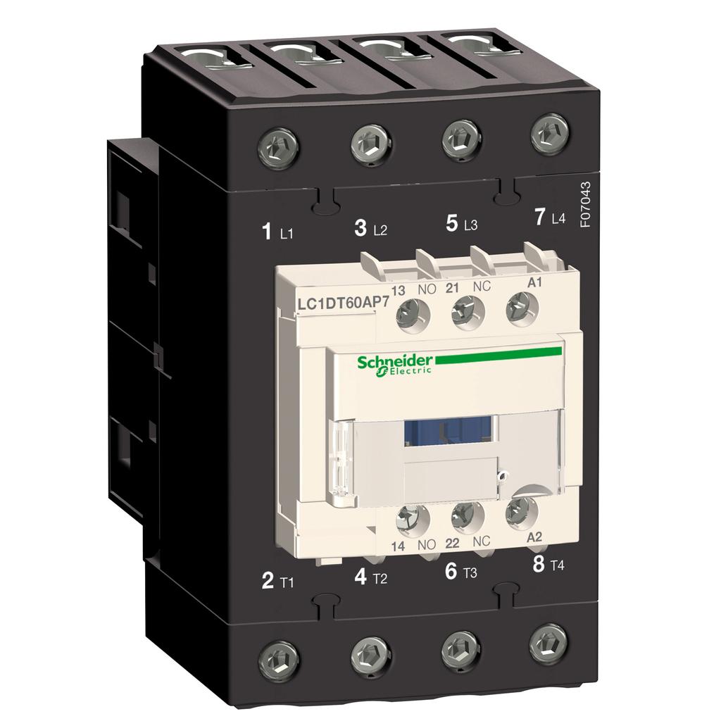 Mayer-IEC contactor, TeSys D, nonreversing, 60A resistive, 4 pole, 4 NO, 24VAC 50/60Hz coil, open style-1