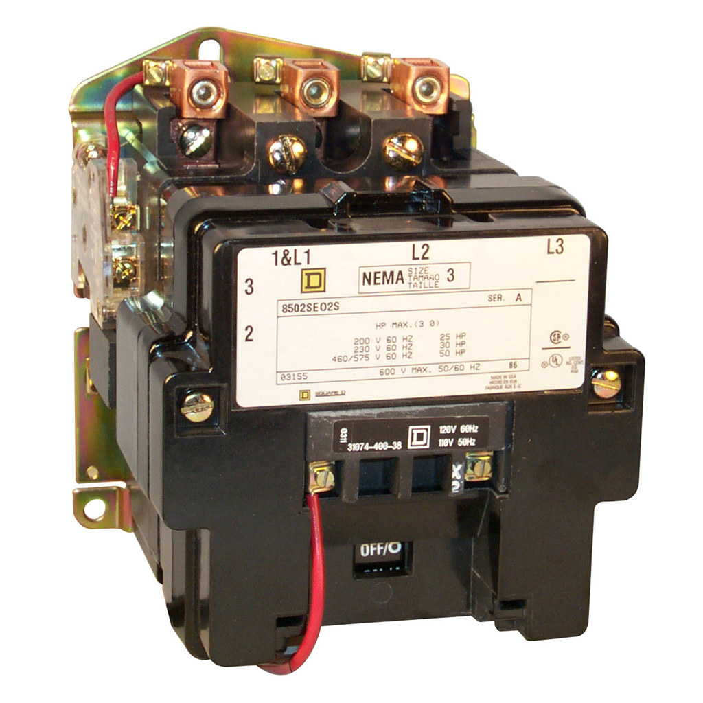 Mayer-NEMA Contactor, Type S, nonreversing, Size 3, 90A, 1 phase, up to 100 kA, 2 pole, 120 VAC coil, open-1
