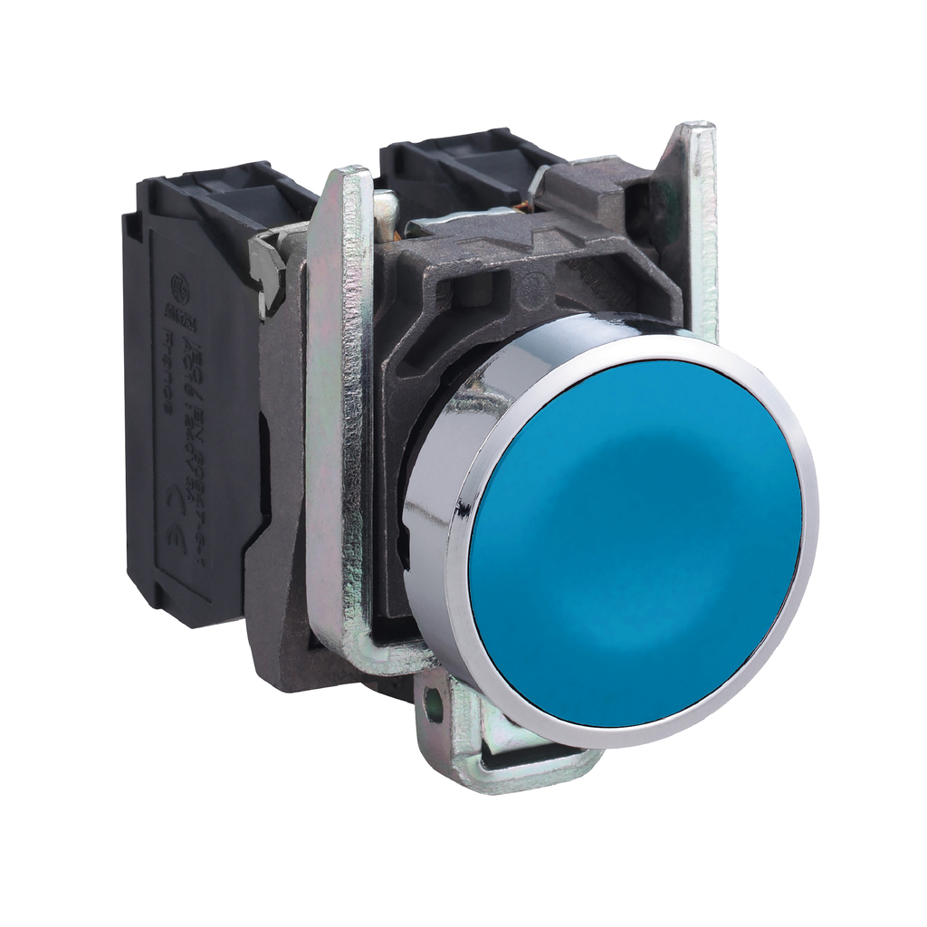 Mayer-Harmony XB4, Push button, metal, flush, blue, Ø22, spring return, unmarked, 1 NO-1