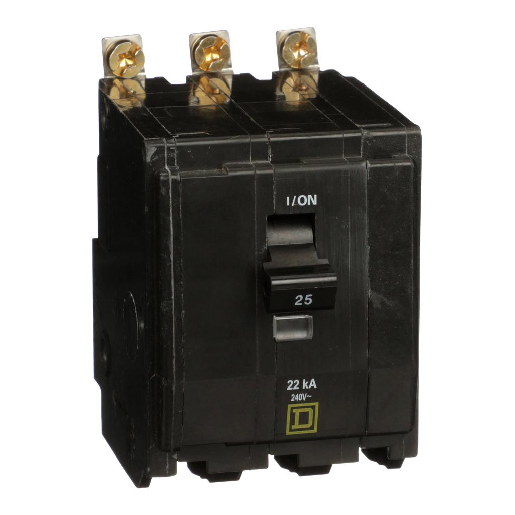 Mayer-Mini circuit breaker, QO, 25A, 3 pole, 120/240 VAC, 22 kA, bolt on mount-1