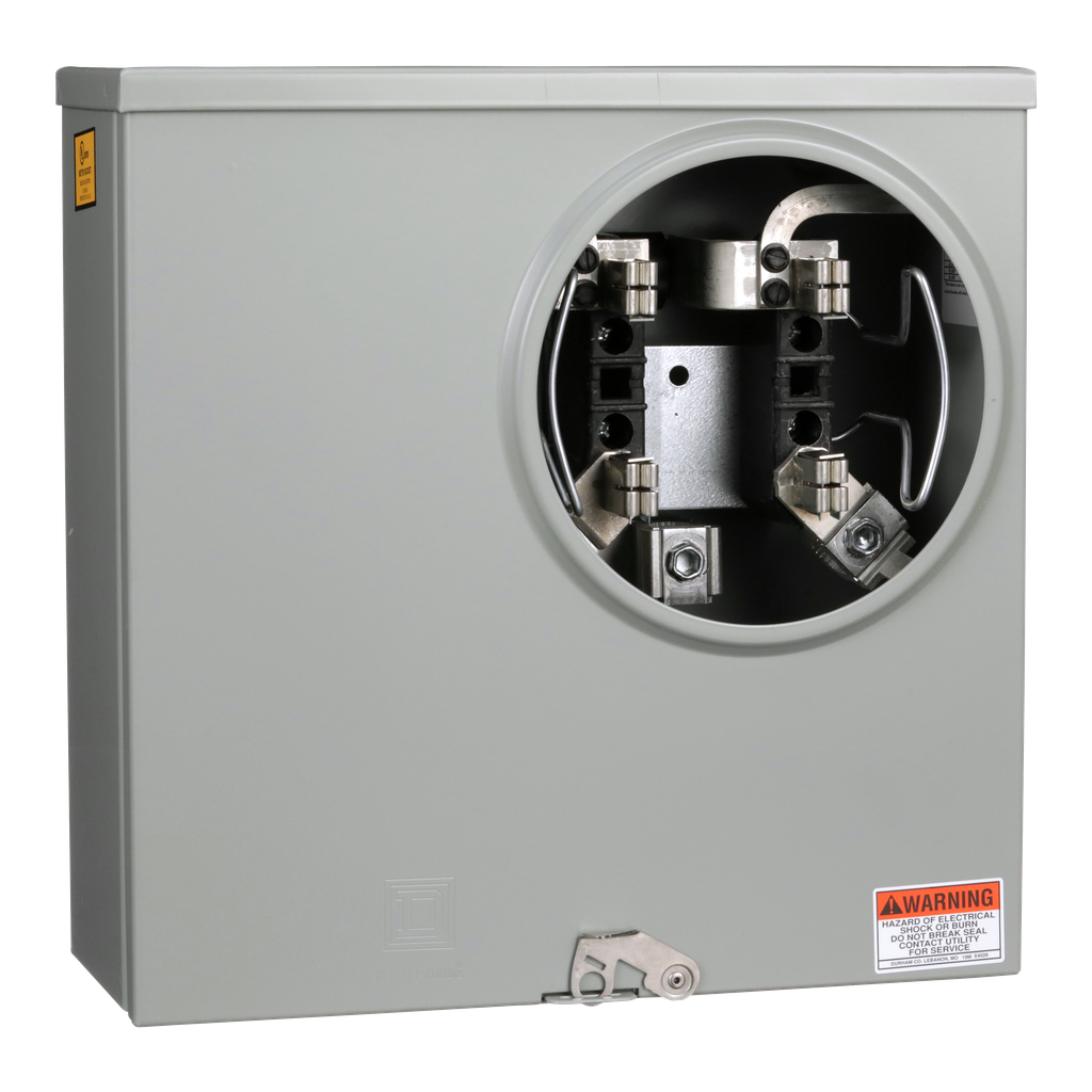 Mayer-Individual meter socket, ringless socket, horn bypass, 4 jaws no release, UG, 200 A, up to 600 VAC single phase 3W-1