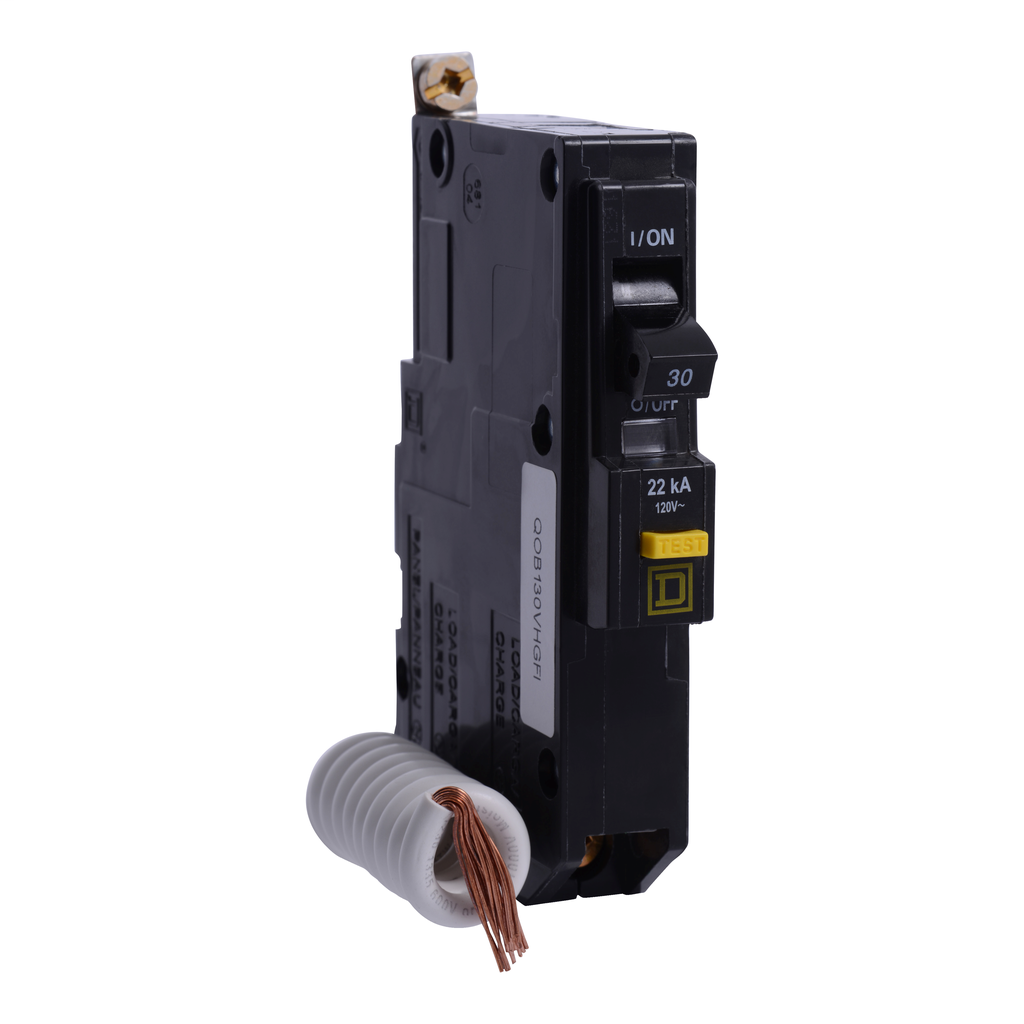 Mayer-Mini circuit breaker, QO, 30A, 1 pole, 120 VAC, 22 kA, 6mA grd fault A, pigtail, bolt on mount-1