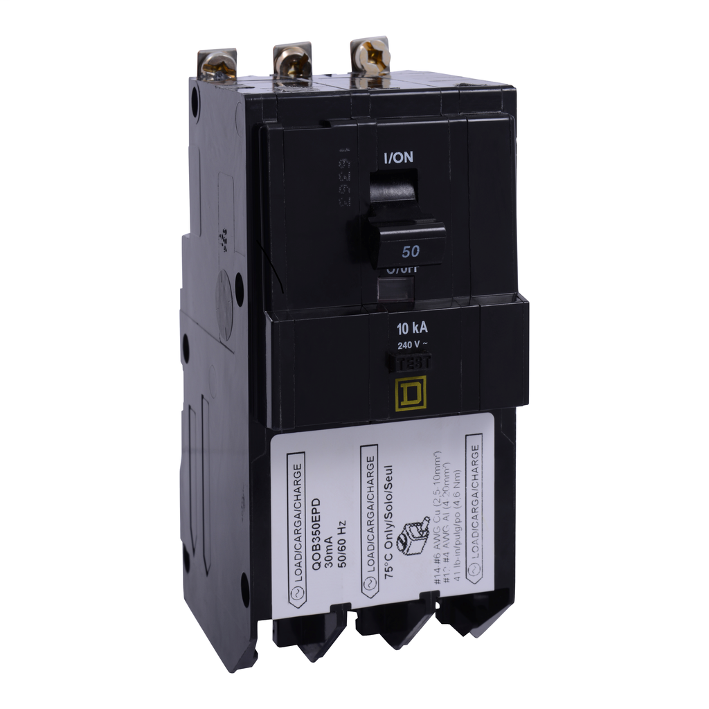 Mayer-Mini circuit breaker, QO, 50A, 3 pole, 240 VAC, 10 kA, 30mA grd fault B, bolt on mount-1