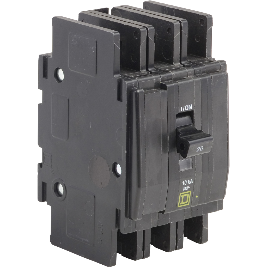 Mayer-Mini circuit breaker, QOU, 40A, 3 pole, 240 VAC, 10kA, ring terminal-1