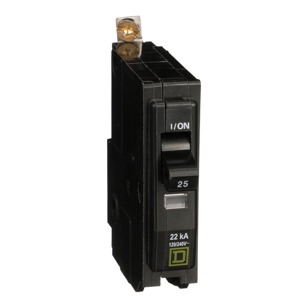 Mayer-Mini circuit breaker, QO, 25A, 1 pole, 120/240 VAC, 22 kA, bolt on mount-1