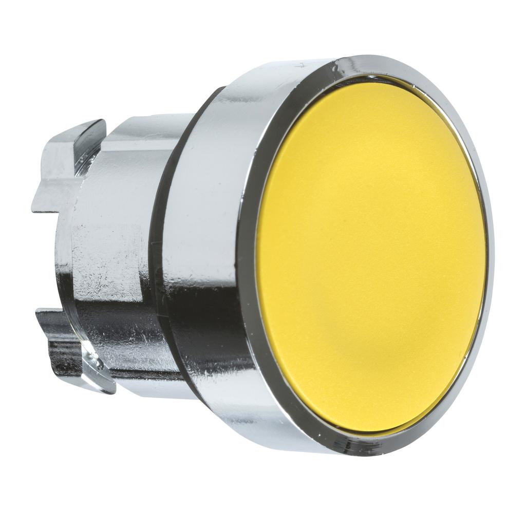 Mayer-Harmony XB4, Push button head, metal, flush, yellow, Ø22, spring return, unmarked-1
