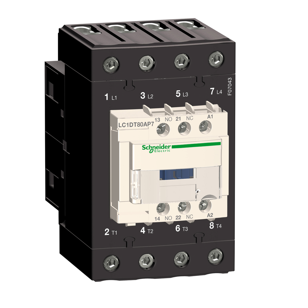 Mayer-IEC contactor, TeSys D, nonreversing, 80A resistive, 4 pole, 4 NO, 220VAC 50/60Hz coil, open style-1