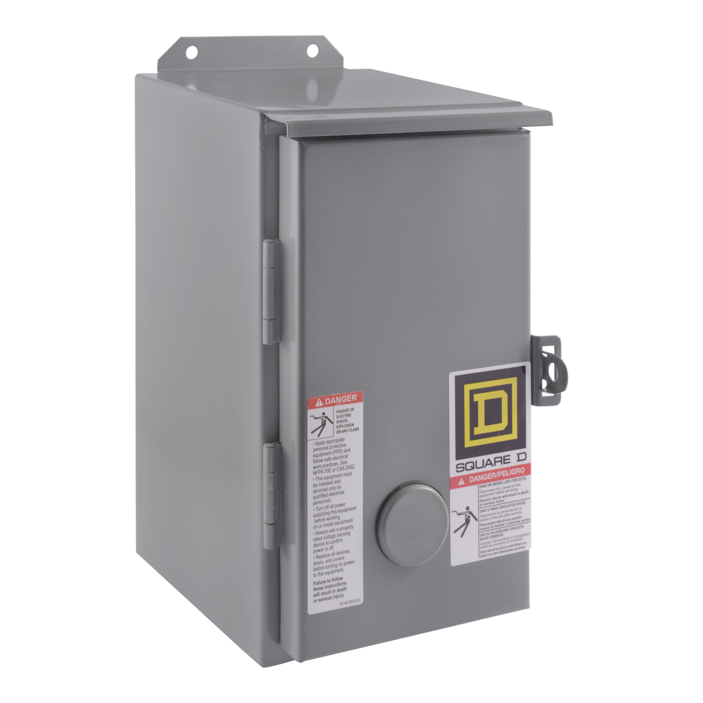 Mayer-NEMA Contactor, Type S, nonreversing, Size 0, 18A, 5 HP at 575 VAC, 3 phase, up to 100 kA, 3 pole, 120 VAC coil, NEMA 12-1
