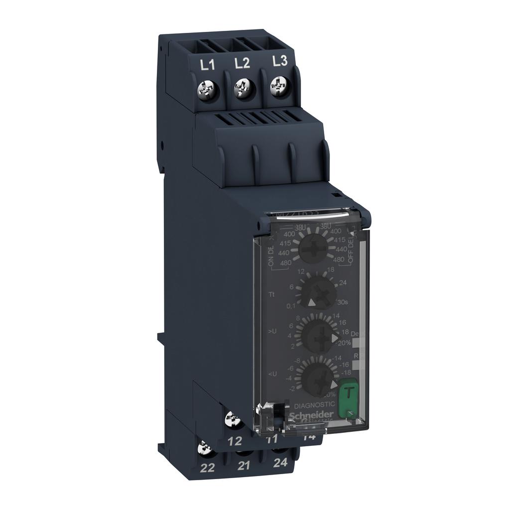 Mayer-Harmony, Modular 3-phase voltage control relay, 8 A, 2 CO, 380...480 V AC-1