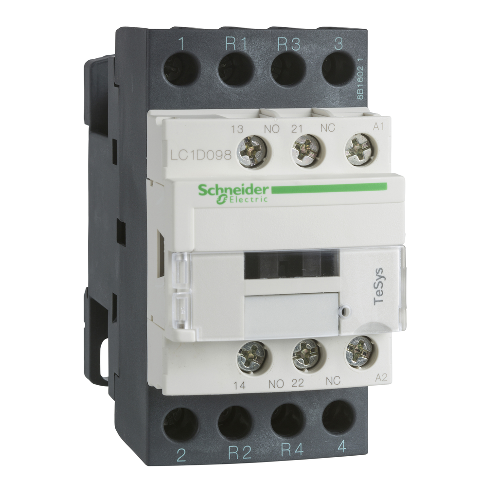 Mayer-IEC contactor, TeSys D, nonreversing, 25A resistive, 4 pole, 2 NO and 2 NC, 200VAC 50/60Hz coil, open style-1