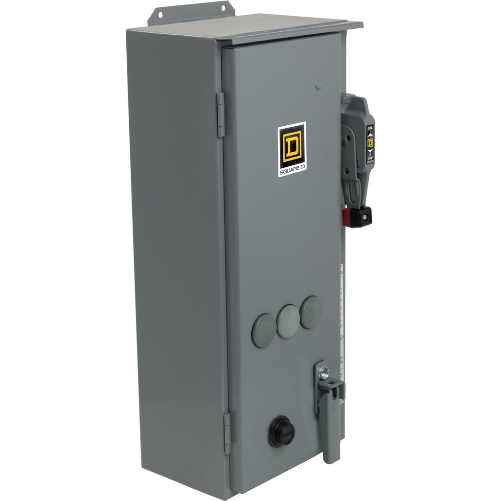 Mayer-NEMA Combination Starter, Type S, HHL electronic motor circuit protector, Size 1, 27A, 3 phase, 480 VAC coil, NEMA 12-1