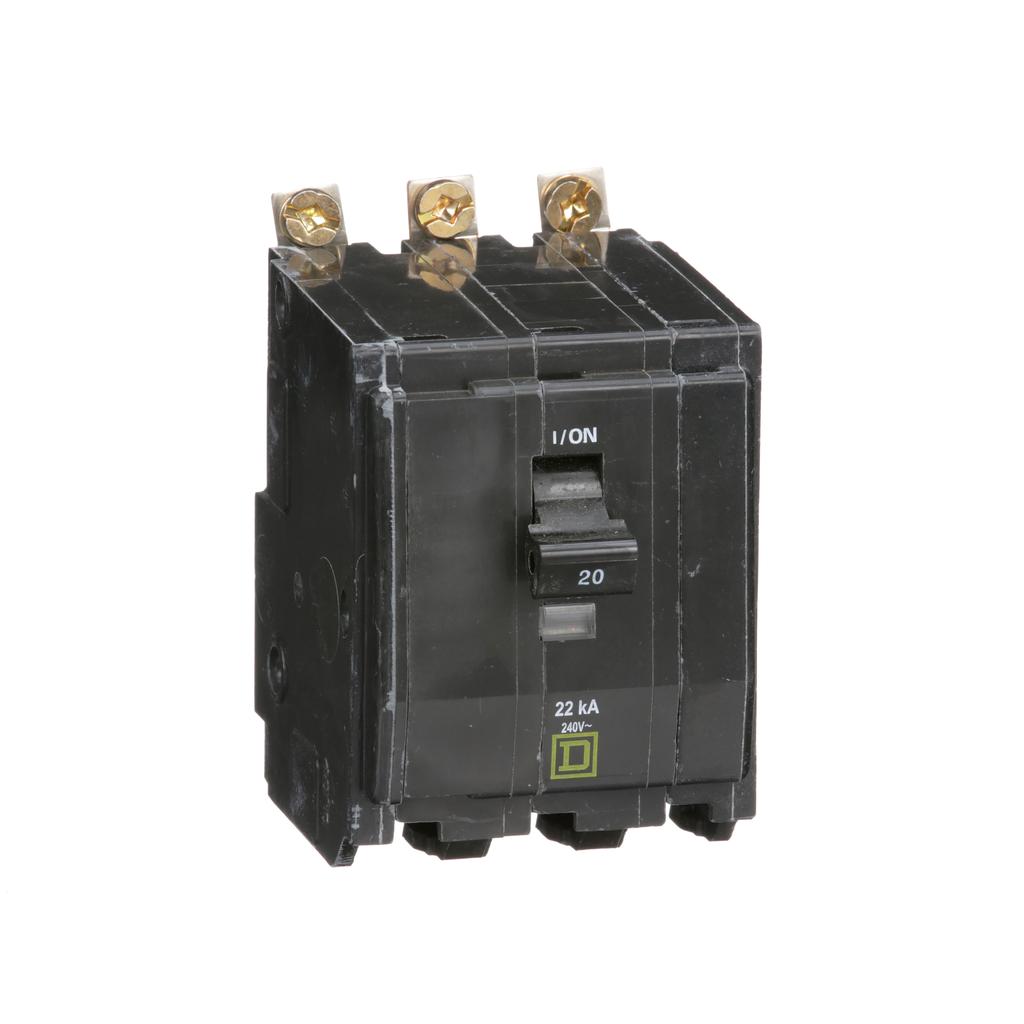 Mayer-Mini circuit breaker, QO, 20A, 3 pole, 120/240 VAC, 22 kA, bolt on mount-1