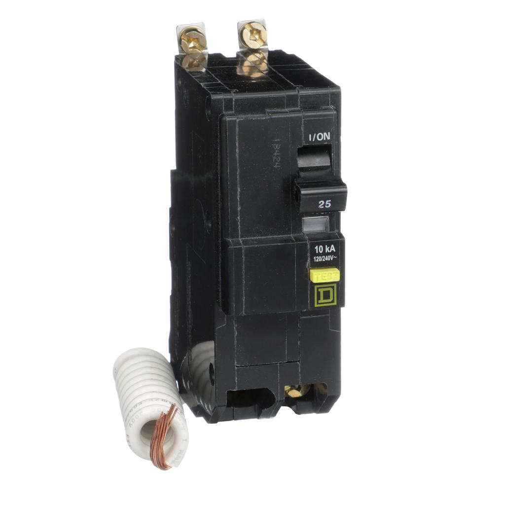 Mayer-Mini circuit breaker, QO, 25A, 2 pole, 120/240 VAC, 10 kA, 6mA grd fault A, pigtail, bolt on mount-1