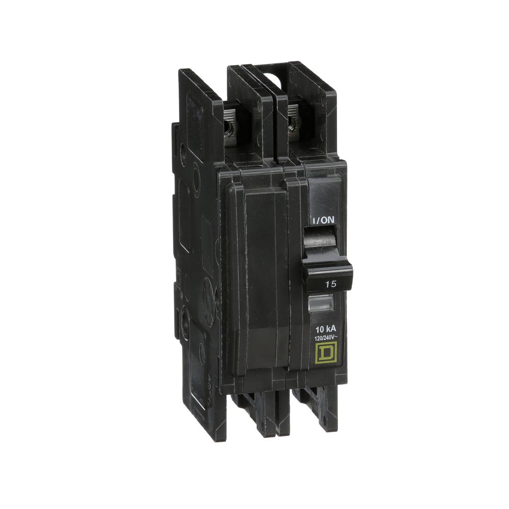 Mayer-Mini circuit breaker, QOU, 15A, 2 pole, 120/240 VAC, 10kA, ring terminal-1