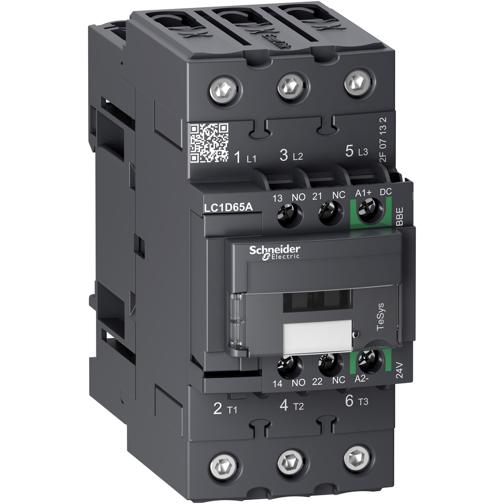 Mayer-IEC contactor, TeSys D Green, nonreversing, 65A, 40HP at 480VAC, up to 100kA SCCR, 3 phase, 3 NO, 24VDC coil, open style-1
