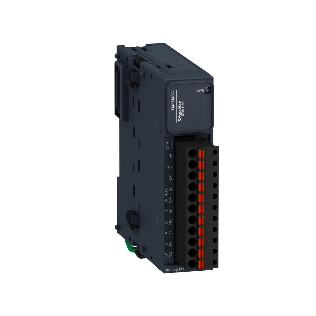 Mayer-Input/output analog module, Modicon TM3, 2 or temperature inputs, 1 output (spring) 24 VDC-1