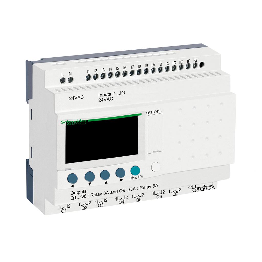 Mayer-Modular smart relay, Zelio Logic, 24 I/O, 24 V AC, clock, display-1