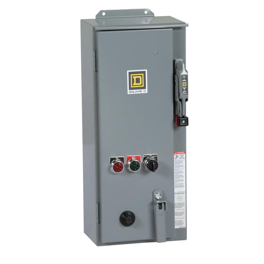 Mayer-NEMA Combination Starter, Type S, 30A fusible disconnect, Size 1, 27A, Motor Logic SSOLR, 120 VAC coil, NEMA 3R/12-1