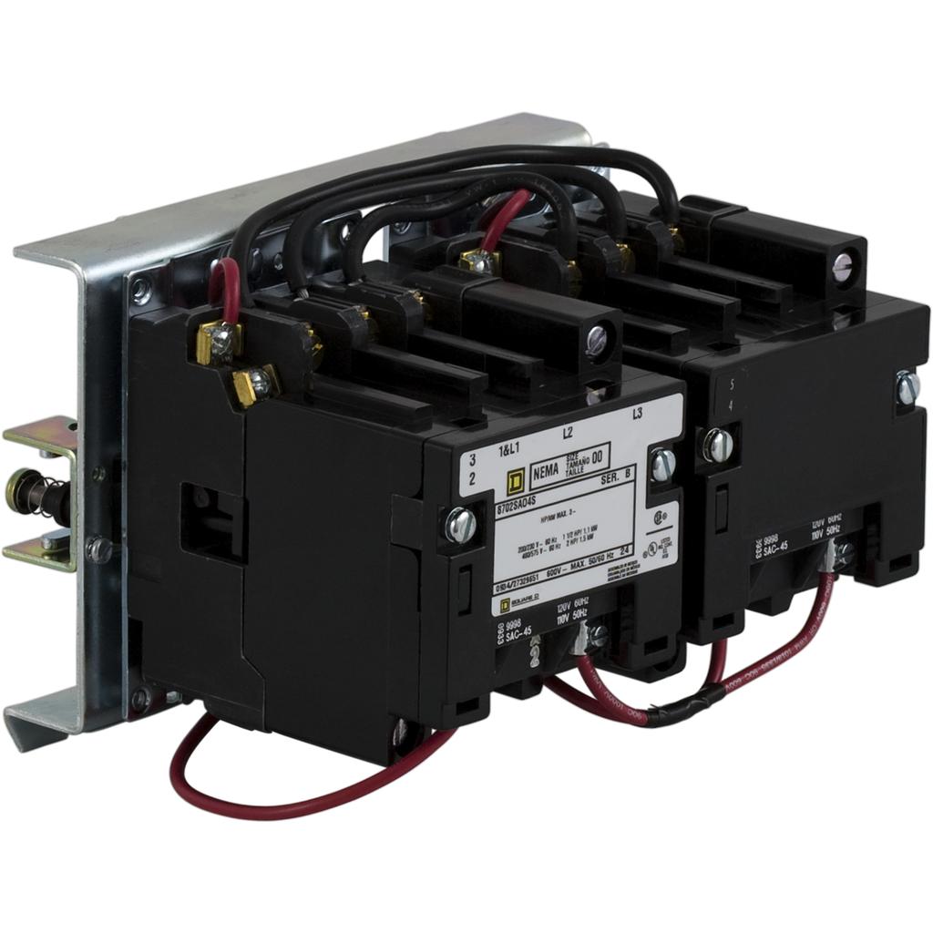 Mayer-NEMA Contactor, Type S, reversing, Size 1, 27A, 3 pole, 3 phase, vertical, 110/120 VAC 50/60 Hz coil, open style-1