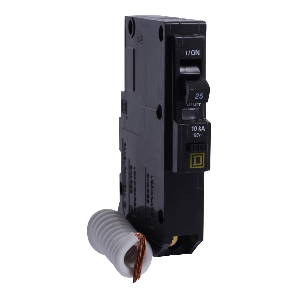 Mayer-Mini circuit breaker, QO, 25A, 1 pole, 120 VAC, 10 kA, 30mA grd fault B, plug in mount-1